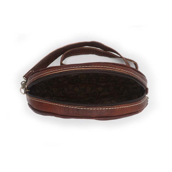 Round Sling Bag - Wine Red