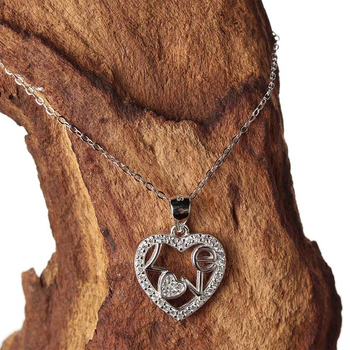 Lovable Heart Necklace - Sterling Silver