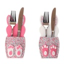 Bunny cutlery sleeve set - Pink/White