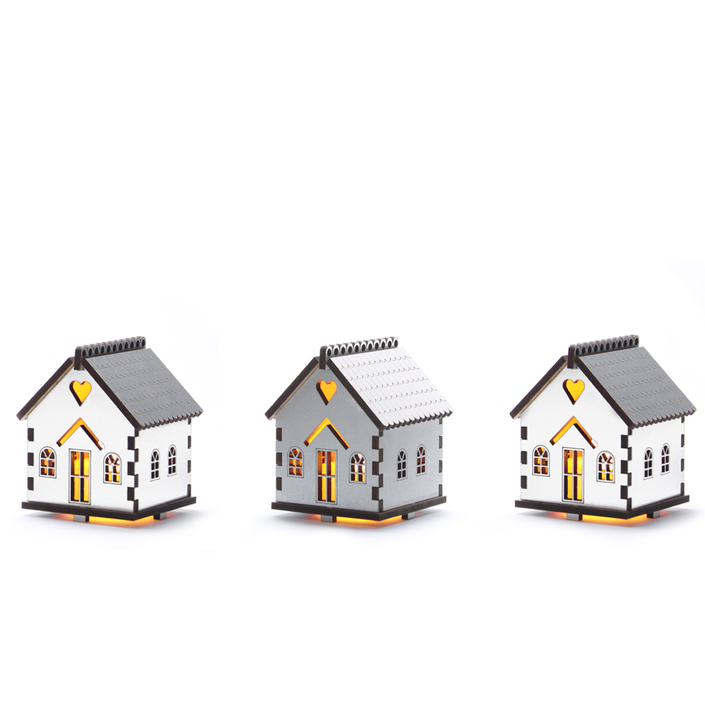 Flickering House Set - small - Silver & White
