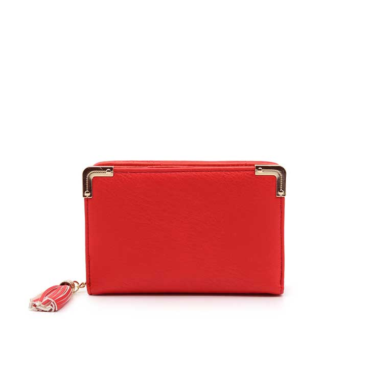 Ladies Small Zipper Wallet - Red
