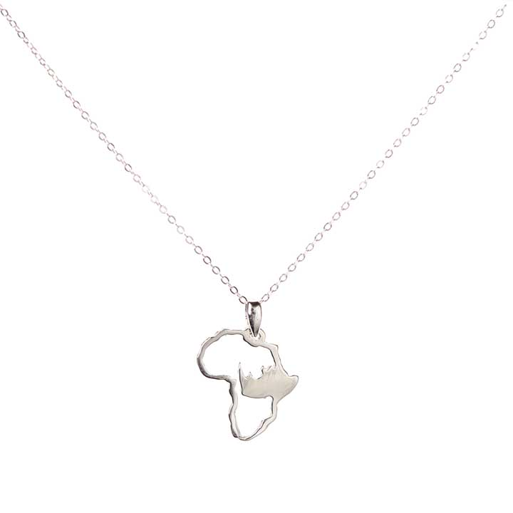 African Rhino Necklace - Sterling Silver