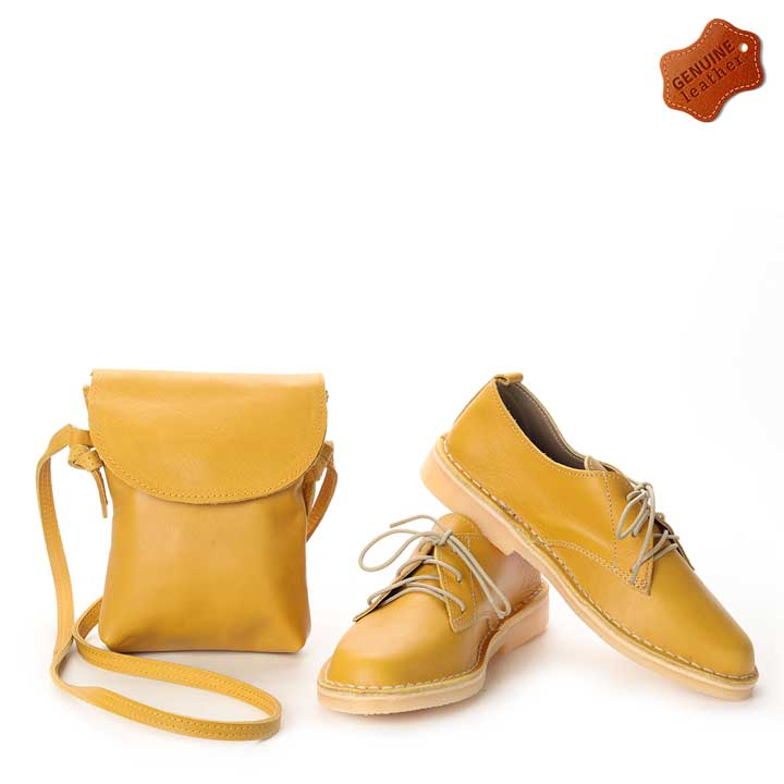 Matching Mustard | Vellies & compact sling bag combo