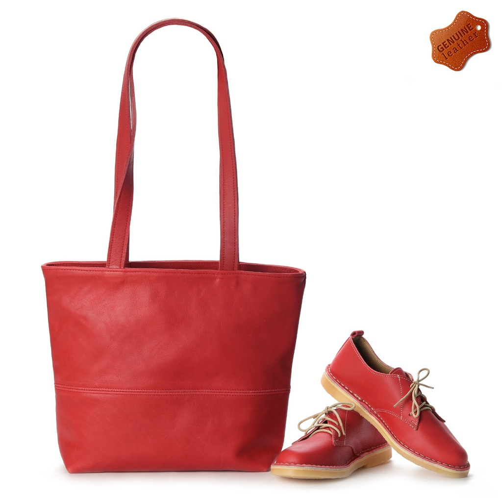 Matching Red | vellies & shopper bag combo